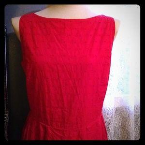 Barney's NY red retro style eyelet cotton dress.